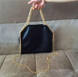 Wholesale golden tote - Dropshiping falabella shaggy deer PVC stella 25cm fold-over tote bag luxury real picture crossbody handbag lady small black golden chain bag