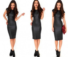 Wholesale Women S Leather Dresses - Fashion Women Bandage Dress Lady PU Dress Leather Short Sleeve Sexy Party Queen Bodycon O Neck Clubwear Midi Tight Black Casual Dress