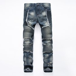 Wholesale Rock 34 - Wholesale- 2016 New Hip-hop Brand Jeans Mens Denim Distressed Masculina Men's Slim Long Pants Rock Ripped Biker Jeans Homme Size 34 36 38