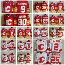 2019 al macinnis Chandail de hockey des Flames de Calgary 25 Joe Nieuwendyk 9 Lanny McDonald 2 Al Macinnis 10 Gary Roberts 30 Mike Vernon 14 Théoren Fleury Doug Gilmour al macinnis pas cher