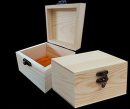 Wholesale Table Jewelry Box - New Arrival zakka Paulownia Wood Small Wooden Box With Lid and Golden Lock Jewerally Storage Box Wedding Table Gift Box Xmas free shipping