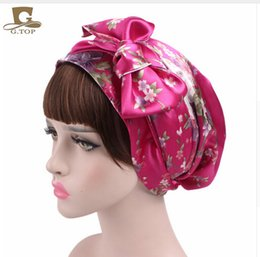 Wholesale Womens Skull Cap Beanie - NEW Satin bow headscarf comfortable sleeping bonnet curly hair wrap womens silk head scarf head wrap cap