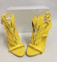 Wholesale Strappy Heeled Sandals - 2017 Hot Sale Golden Metal Wings Leaf Strappy Dress Sandal yellow pink Gladiator High Heels Shoes Women Metallic Winged Sandals