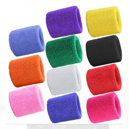 Wholesale Terry Cloth Sweatband Wholesale - Wholesale- 2PCs Terry Cloth Wristbands Sport Sweatband Hand Band Sweat Wrist Support Brace Wraps Guards For Gym Volleyball Basketball