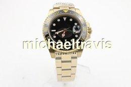 Wholesale Luxury Button Belt - Luxury Brand Black Dial Golden Stainless Belt Watches Black Irab Bezel Watch Mens Fashion Wrist Watches Sapphire original button free Shipp