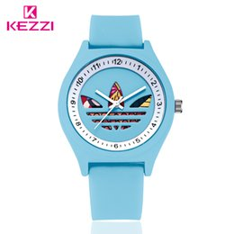 Wholesale Jelly Watches For Women - Brand KEZZI Silicone Jelly Student Watches Fashion Clover Leisure Waterproof Watch For Men And Women Clover watch