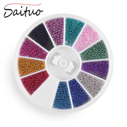 Wholesale Studs For Nail Art - Wholesale- 12 Color Micro Ball Wheel Beads Studs For Nails Metal Caviar Design Wheel Nail Art Supplies For 3D Nail Art Tips Decoration Tool
