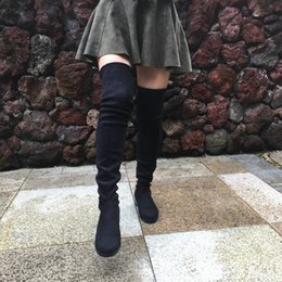 Wholesale white flat thigh high boots - Wholesale-Women Faux Suede Thigh High Boots Flat Comfort Sexy Slouchy Stretch Over the Knee Boots 2016 Black Gray Wine Red Nude Mud