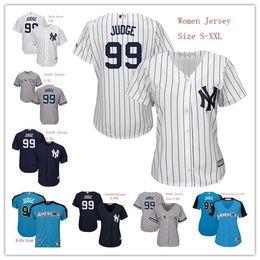 Wholesale Women Shorts Cheap - New York Yankees Womens Youth Aaron Judge Jersey 99 Team White Pinstripe Dark Blue Grey Ladies Kids Cool Base Jerseys Cheap Mix Order