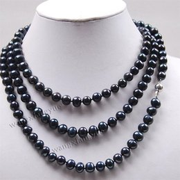 "Wholesale Long Cultured Pearl Necklaces - Long 50"" 8-9mm Black Akoya Cultured Pearl Jewelry Necklace"