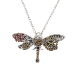 Wholesale Resin Chain Necklace Europe - Europe and the United States explosive jewelry steam punk retro creative strange personality dragonfly pendant necklace