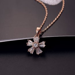 Wholesale Chain Link Inserts - South Korea style exquisite micro-inserts necklace high-end AAA zircon cinquefoil clavicle chain new fashionable joker girl short necklace
