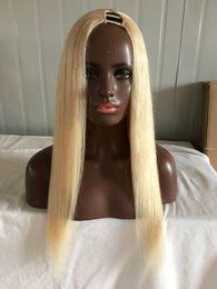 Wholesale 613 Indian Virgin Hair - #613 Lightest Blonde U Part Wigs Best Grade 7A Brazilian Virgin Hair 130% Density Silky Straight Human Hair Upart Wig For White Women