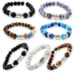 Wholesale Silver Chain Bracelete - 8mm Natural Stone Beads 7 Chakra Healing Balance Elephant Unisex Bracelete Yoga Reiki Prayer Bead Bracelet for Men Women Jewelry B335S