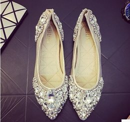 Wholesale Silver Bridal Flats - wholesale free shipping factory price hot seller flat heel pointed toe high heel Flatforms diamond women dress bridal wedding shoe188