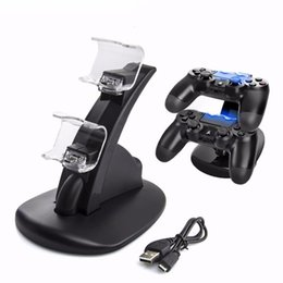 Wholesale Playstation Slim New - New Dual USB Charging Dock For PlayStation 4 PS4 Pro Slim Controller Handle Cradle Double Charger With Led Light For PS4 Gamepad