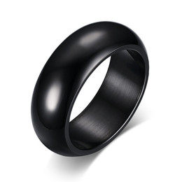 Wholesale Simple Single Rings - Meaeguet Simple Design Black Stainless Steel Ring Finger rings For Women Men Christmas Gifts Drop Ship Biker Single Jewelry