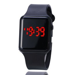Wholesale Square Watch Silicone Led - 200pcs Square Mirror Face Silicone Band Digital Watch Red LED Watches Quartz Wrist Watch Sport Clock Hours