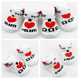 Wholesale Dad Socks - Baby socks rubber slip-resistant floor socks love dad love mum cartoon kids socks for girls boys Free Shipping