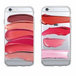Wholesale Lipstick Iphone Case - Sexy Smears lipstick Beauty Cosmetics Makeup Soft Phone Case Coque Fundas For iPhone 6 6S 6Plus 7 7Plus 5 5S SE 5C SAMSUNG