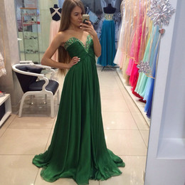 Wholesale Dresses For Pregnant Women Winter - Dark Green Chiffon Bridesmaid Dresses A line Sweetheart Backless Cheap Beads Empire Maternity Women Party dress for Pregnant Evening Gowns