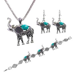 Wholesale Turquoise Silver Elephant Pendant - Vintage Look Antique Silver Plated Delicate Elephant Pendant Turquoise Necklace Bracelet Earrings Jewelry Sets animal jewelry 161924