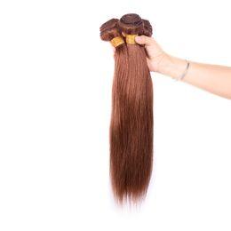 Teinture cheveux brésiliens brun clair en Ligne-Les extensions de cheveux non-traitées de cheveux brésiliens droits d'armure brésilienne de couleur brun clair 4 # colorent 100g / pc peuvent être teintes sans rejet