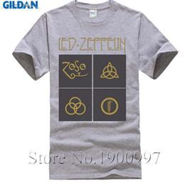 Wholesale Led Tshirts - Led Zeppelin Logo Tshirts for Men Cock Rock Short Sleeves Crew-neck Soft Cotton Custom Print T-shirts Male UK Band Tees Shirt