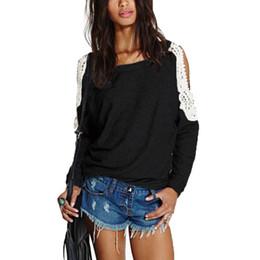 2019 häkeln hoodies Großhandels- Frühling Herbst 2017 Frauen Casual Spitze Crochet Splice Tops Sexy Schulterfrei Langarm Shirts Hoodies Sweatshirts Blusas Neu günstig häkeln hoodies