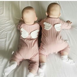 Wholesale Girl Tutu Wing - INS Baby Clothing Fashion Angel Wings Cartoon Infant Bodysuit Autumn Long Sleeve Boutique Romper Toddler Fall Jumpsuit C2048