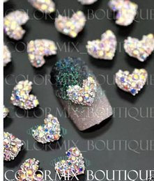 Wholesale Heart Rhinestones Nail Art - NEW ARRIVAL AB Heart Alloy Rhinestone Nail Art Nail Stickers Decals Manicure DIY Accessories made in China
