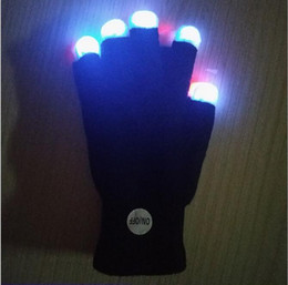 Wholesale Lighted Glove - Flash gloves 7 color party led lighted toy gloves Halloween costume glowing glove led finger light light up goves for party music concert