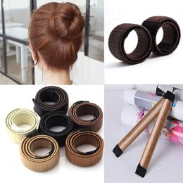Wholesale French Ties - Hair Magic Tools Bun Maker Hair Ties Girl DIY Styling Donut Former Foam Hair Bows French Twist Magic Tools Bun Maker 3006017