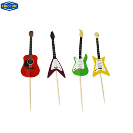 Wholesale Guitar Cakes - Wholesale- [CHICCHIC] 24pcs a Set Colorful Guitar 4 Shapes Cupcake Toppers Cake Picks Decoration with Toothpicks Free Shipping QH0021