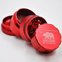 Wholesale Machining Aluminum - 6 Colors Cali Crusher Homegrown Grinder Size 40mm*40mm*55mm Aircraft Aluminum Tobacco Herb Grinder Machine Crusher Scraper 4 Layers Catcher
