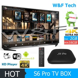 Wholesale Android Tv 16gb - 2017 Hot S6 PRO Android TV Box Quad Core RK3229 2GB 16GB KD 17.4 Krypton Fully Loaed BT 4K Android 6.0 Media Player VS IPTV TX2 X96 MXQ PRO