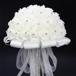 Wholesale White Rose Bridesmaid Bouquets - White Bride Holding Bouquet Artificial Rose White Ribbon Handle Bridesmaid Wedding Flowers 20 cm Diameter New