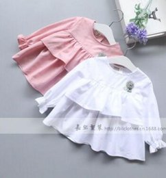 Wholesale Child Round Skirt - New Arrival Kids Girl Spring and summer White Shirt Children Clothing Round Tops T-Shirt 2017 Skirt Loose Skirt 6 Pcs Lot X218011