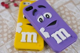 """Wholesale Iphone Cover Case Chocolates - 3D Cartoon soft silicone M&M""""s Fragrance Chocolate Rainbow Beans Case For iPhone 4 4s 5 5s SE 6 6s 7 6s plus 7 plus Rubber Cover"""