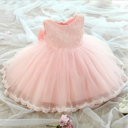 Wholesale Little Girl Princess Photos - 2017 New Flower Girl Dresses with Bow for Wedding White Ivory Pink Party Birthday Communion Pageant Dress Little Girls Kids Children Dress