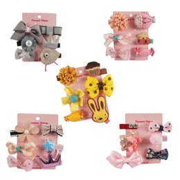 Wholesale Paper Clip Set - Korean Style Hair Bow Set(6pcs) Floral Roses Hair Bow Crowns Satin Ribbons Hair Clip For Girl Birthady Gift With Paper Card