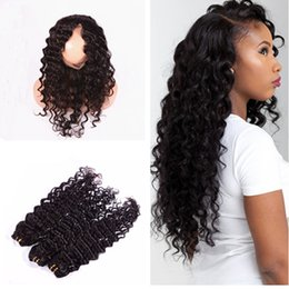 Wholesale Silk Lace Closures Natural Wave - Deep Wave 22.5x4x2'' Silk Base 360 Lace Frontal Closure With Bundles Pre Plucked 4x4'' Silk Top Lace Band Frontal With Human Hair