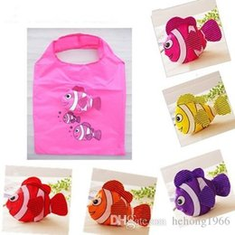 Wholesale Fishing Shopping - Shopping Bag Fold Environmental Protection Portable Bags Tropical Small Fish Terylene Cartoon Portable Practical Cloth Storage New 2 4bx