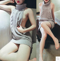 Wholesale women sleeveless sweaters - 2017 Summer New Turtleneck Sleeveless Long Virgin Killer Sweater Japanes Knitted Sexy backless Women Sweaters And Pullovers M88#