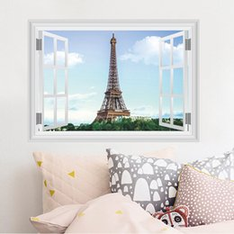 Wholesale Eiffel Tower Stickers - Wholesale Romantic Paris Eiffel Tower Beautiful View of France DIY Wallpaper Decoration Stickers Art Decor Mural Room Decal