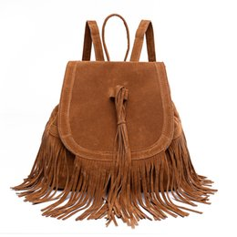 Wholesale Faux Fashion Backpack - Casual Women Backpack Mini Tassels Rucksack Fashion Solid Women Shoulder Bag Satchel Faux Suede Leather Mochilas School Bag