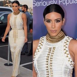 Wholesale Kim Kardashian S Black Dresses - 2017 summer kim kardashian women Sexy Bodycon black white sleeveless studded beaded long maxi rayon Bandage Dress Celebrity dresses PF-013