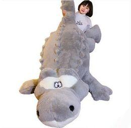 Wholesale Big Huge Cute - 200cm Huge Cute Simulated Animal Crocodile Stuffed Pillow Cushion Big Cartoon Alligator Plush Toy Kids Doll 79''