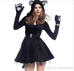 Wholesale Sexy Cosplay Skirt - New Sexy Black cat skirt dress Cosplay Party costume adult Halloween luxury Adult deluxe furry panda costume PSXY1713