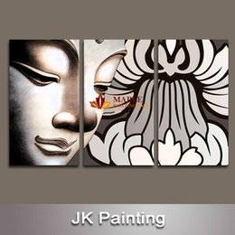 Wholesale Buddha House - 3 Pieces Free Shipping Hot Sell Buddha Canvas Art for Housing Decor Modern Wall Art Painting -- canvas pictures for living room